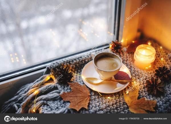 Уютное Зимнее Осеннее Утро Дома Горячий Кофе Золотой ...