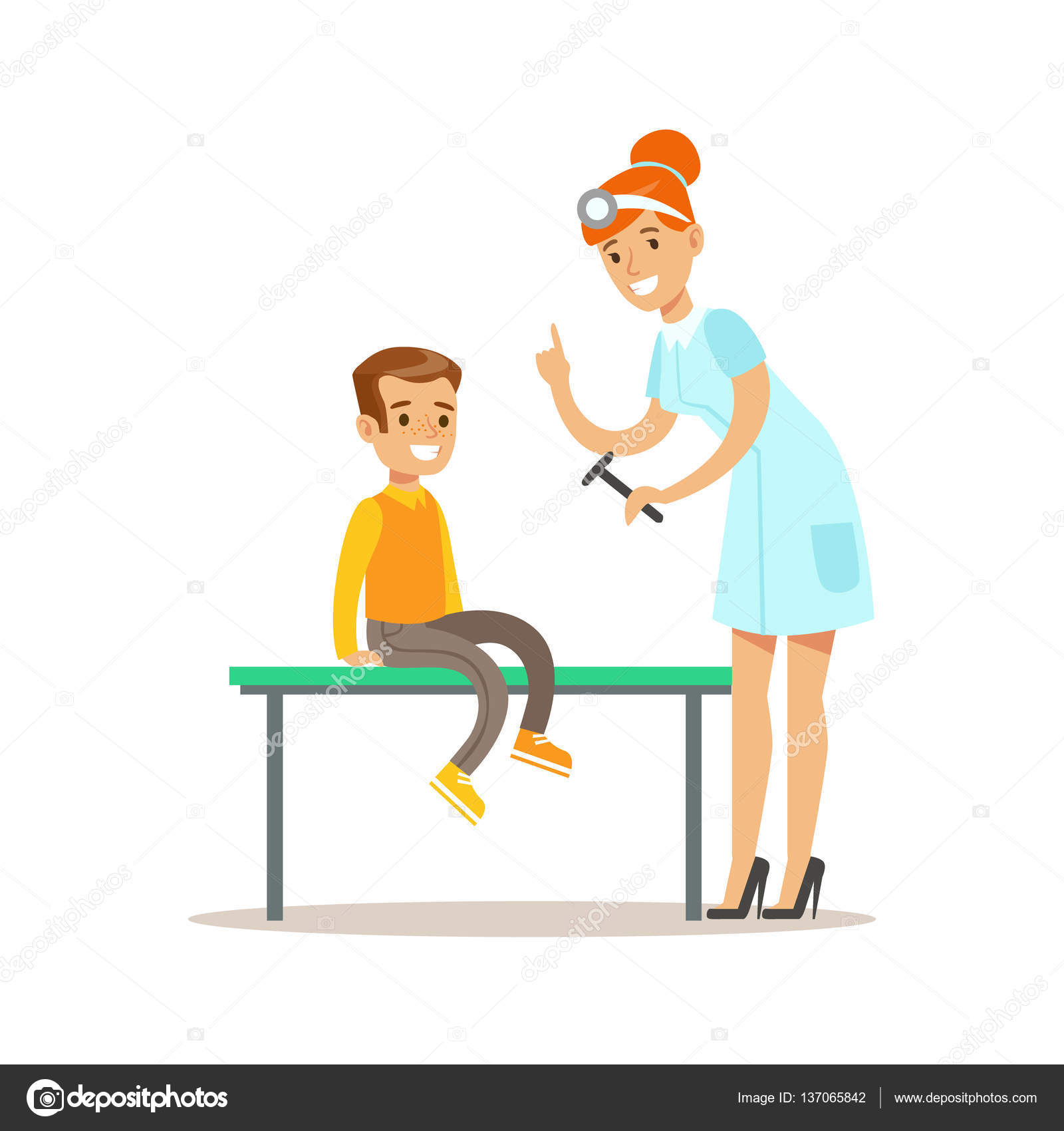 Boy On Medical Check Up With Female Pediatrician Doctor