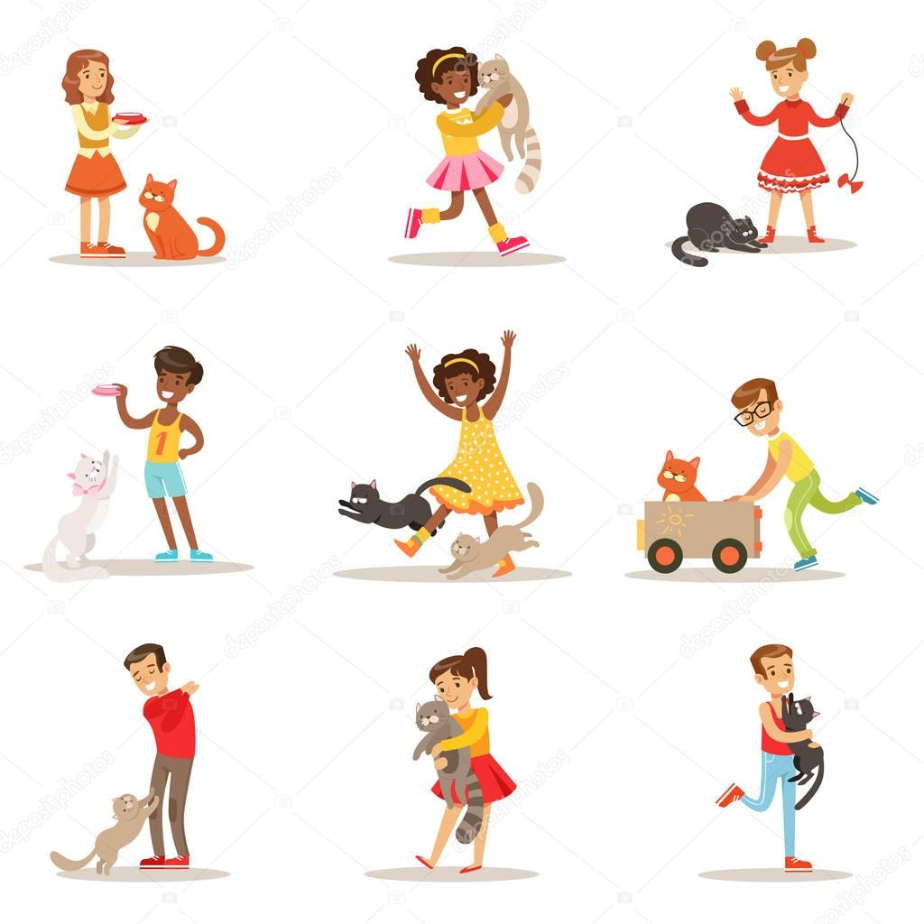 Children And Cats Illustrations Set With Kids Playing And