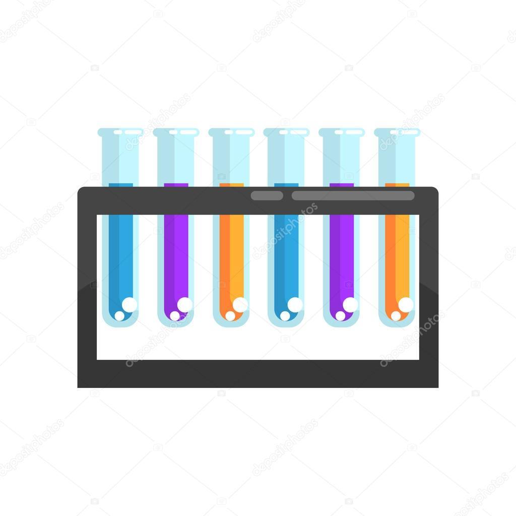 Colorido Laboratorio Tubos De Ensayo De Vidrio Con Diversos Productos Quimicos En El Stand