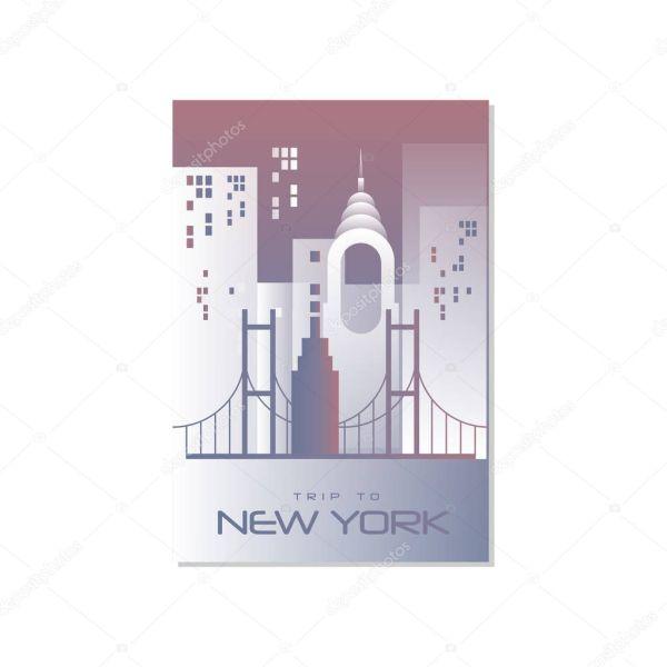 Поездка в Нью-Йорке, плакат шаблон путешествий ...