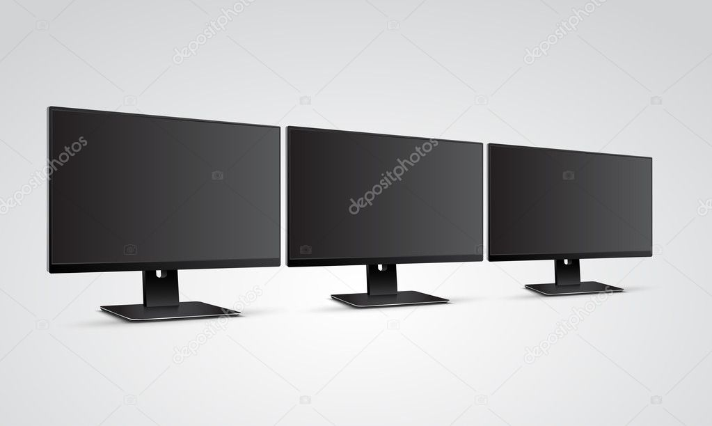 Three Computer Monitors Mockup With Blank Black Screen Stock