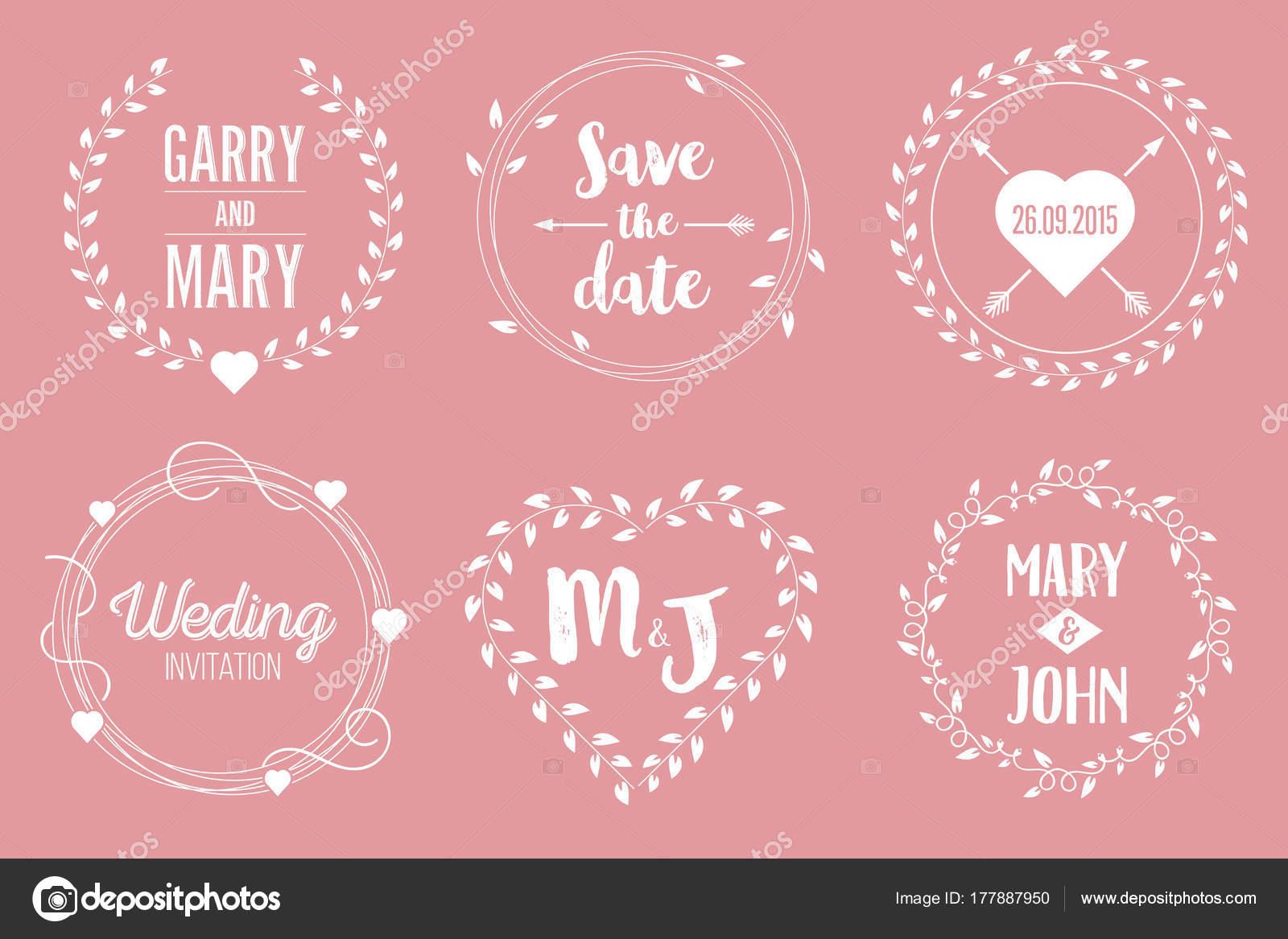 Creative Vector Illustration Date Wedding Witn Name Set