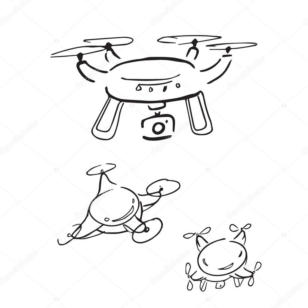 88 Drone With Camera Drawing