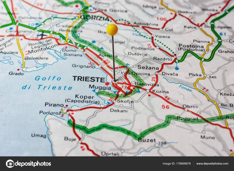 Trieste pinned on a map of Italy     Stock Photo      maior  178699678 Trieste pinned on a map of Italy     Stock Photo