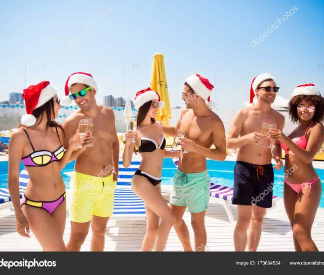 Six International Hot Teens Students In Diverse Swim Wear And Sp Stock Photo