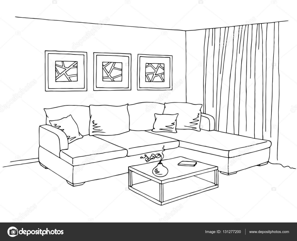 Cartoon Black And White Bedroom