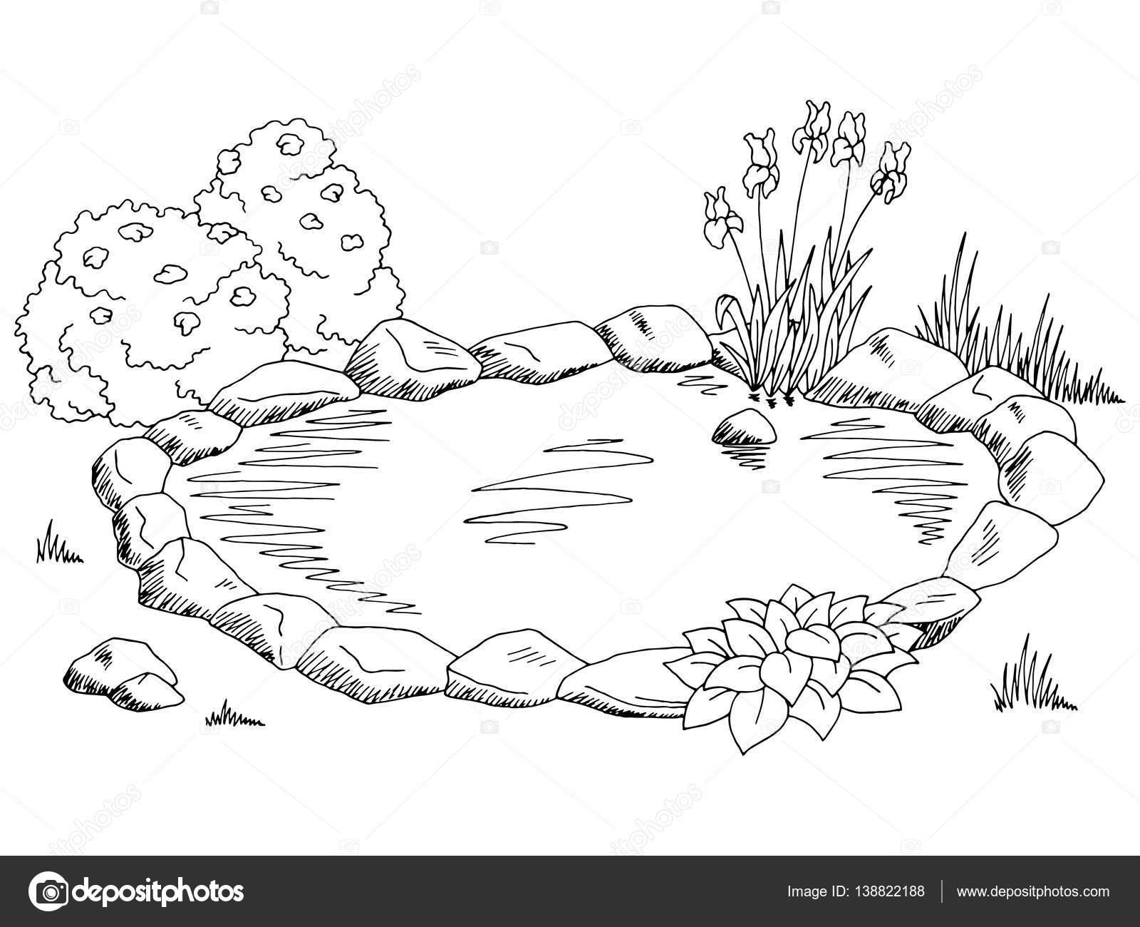 Lagoa Grafico Preto Branca Paisagem Desenho Ilustracao
