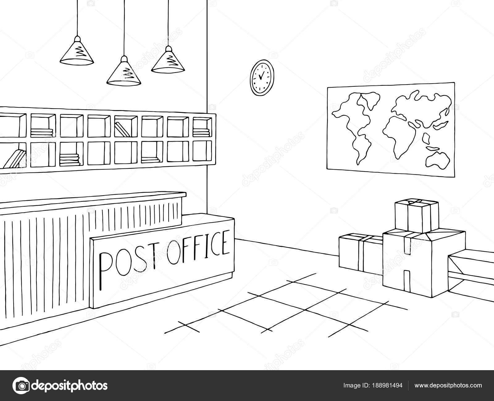 Ufficio Postale Grafico Interno Nero Bianco Schizzo