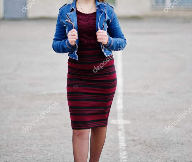 Young Chubby Teenage Girl Wear On Red Dress And Jeans Jacket Pos Stock Photo