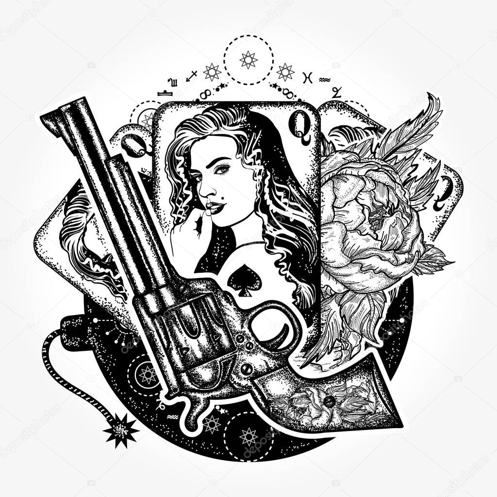 Wild West Tattoo And T Shirt Design Revolver Playing