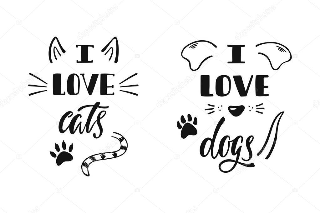 Download Io amo i gatti. Io amo i cani. Scritto a mano citazione ...