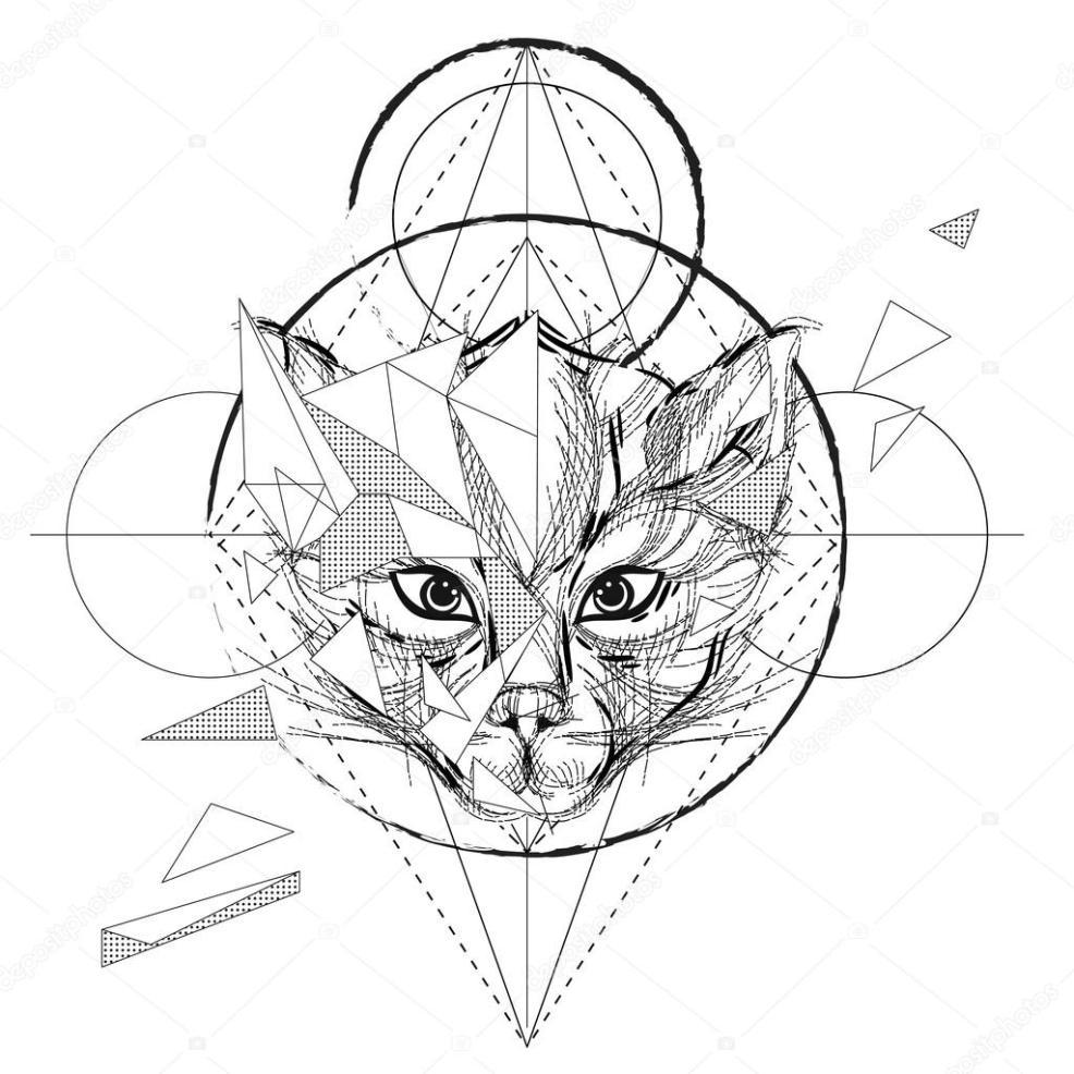 полигональные тату полигональная графика тату волк голову низко