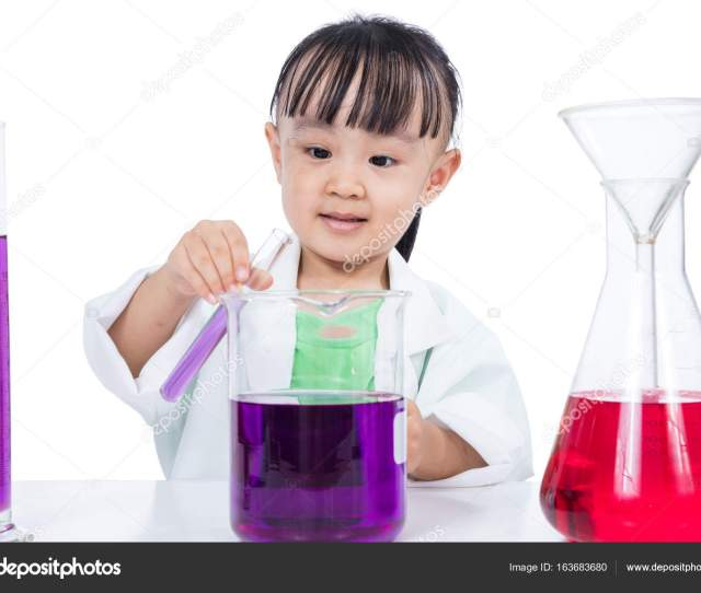 Asian Chinese Little Girl Working With Test Tube In Isolated White Background Photo By Kiankhoon