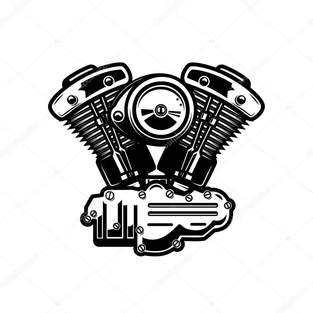 Motorcycle Engine Illustration On White Background