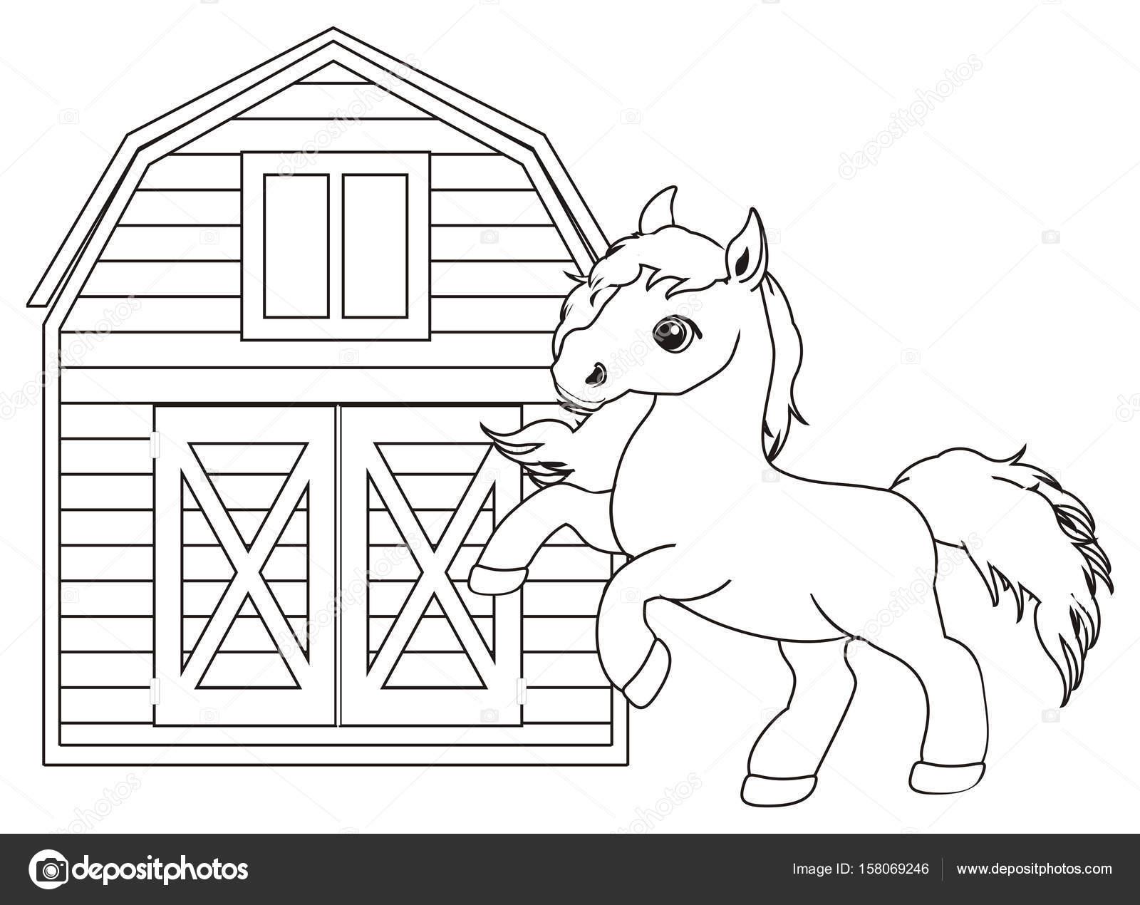 Disegni Da Colorare Cavallo Carino Piccolo Foto Stock