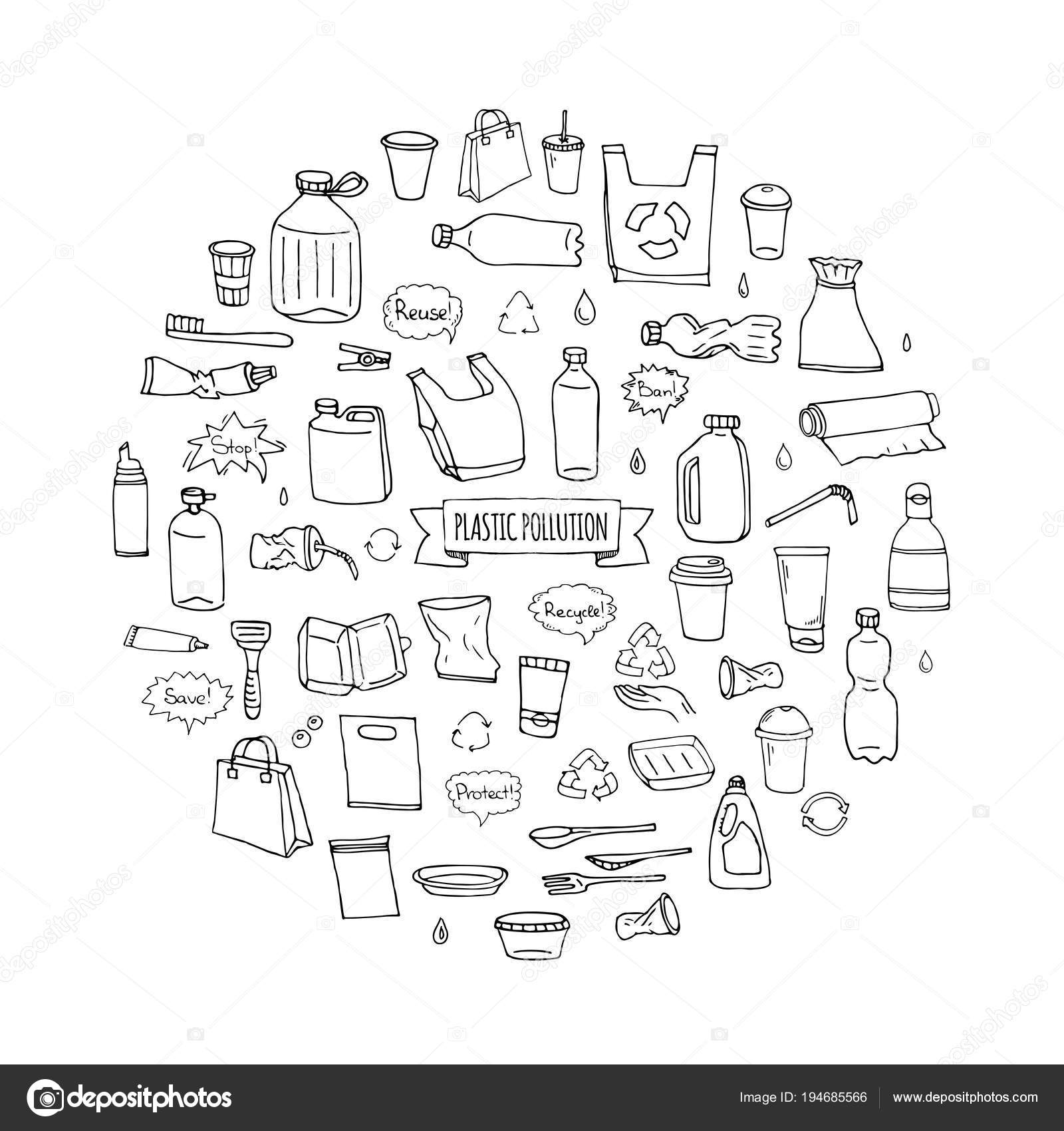 Hand Drawn Doodle Stop Plastic Pollution Icons Set Vector