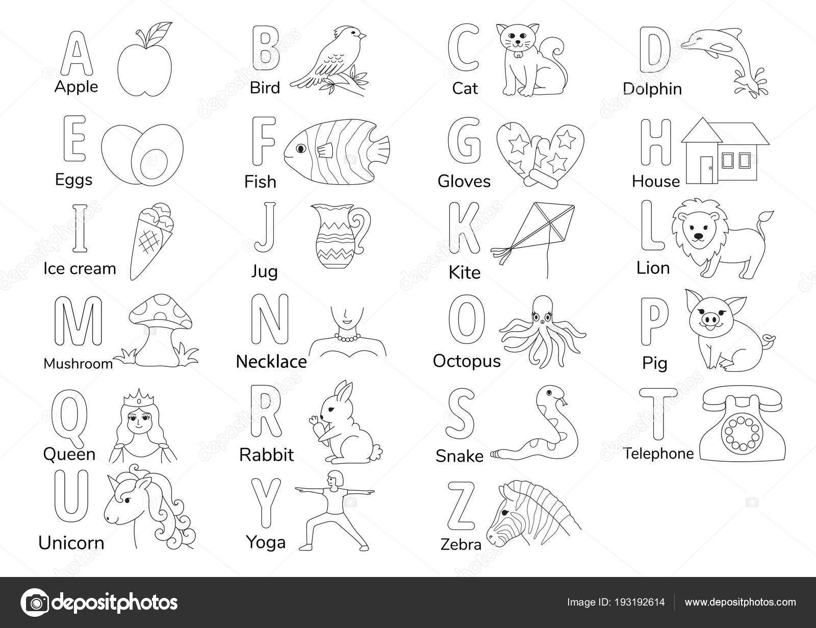 Colorless Alphabets Illustration Coloring Book Page Kids