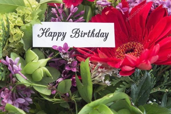 Счастливый день рождения карты withf Весенние цветы ...