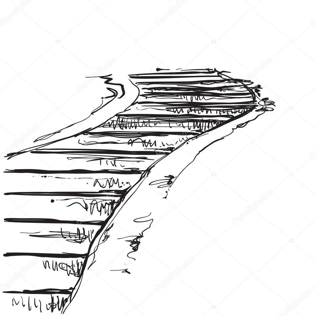 Paisaje Con Escalera Senal Camino Viejo Mano Dibujo