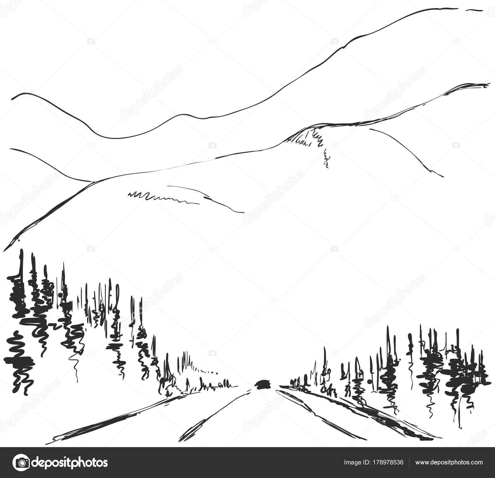 Vector Illustration Hand Drawn Mountains Sketch Landscape
