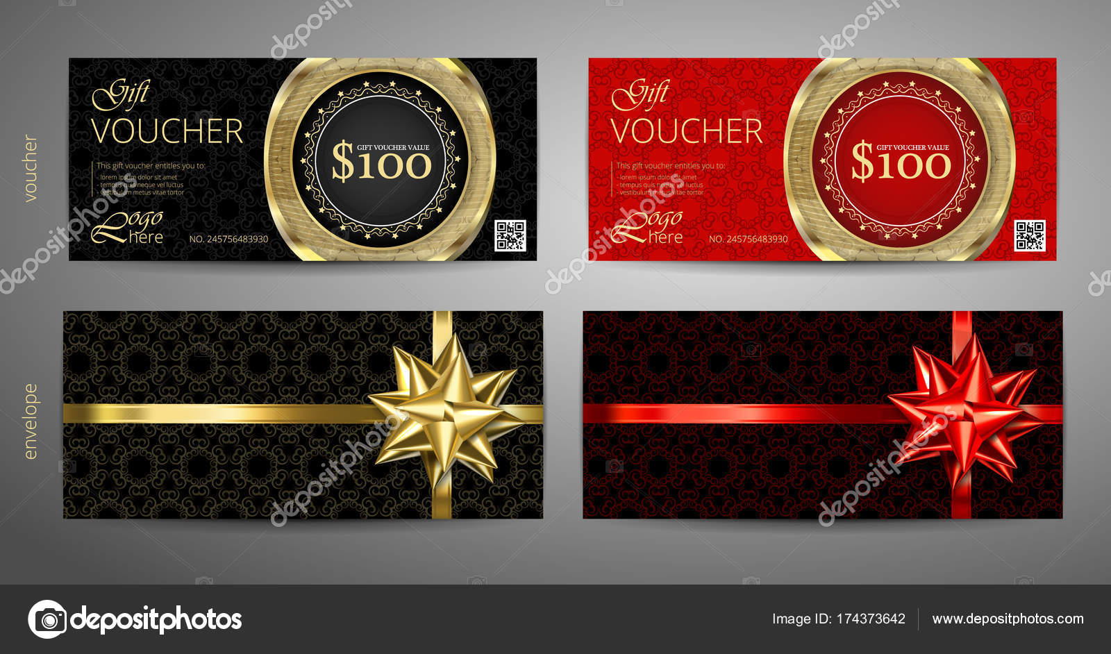Set of gift voucher template with premium pattern and envelope     Set of gift voucher template with premium pattern and envelope design  Gift  voucher certificate coupon