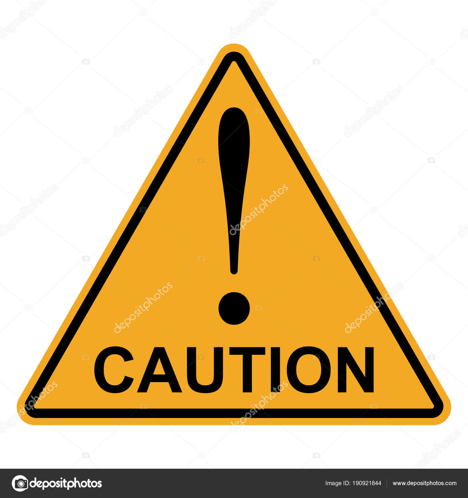 Orange Yellow Triangle With Exclamation Mark Word Caution
