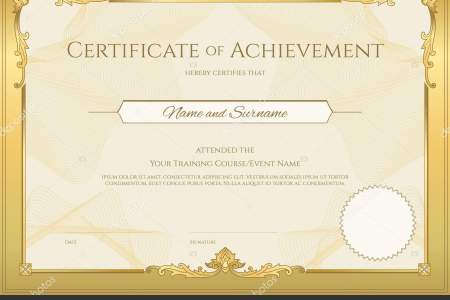 Luxury certificate template with elegant border frame  Diploma     Luxury certificate template with elegant border frame  Diploma design for  graduation or completion     Stock