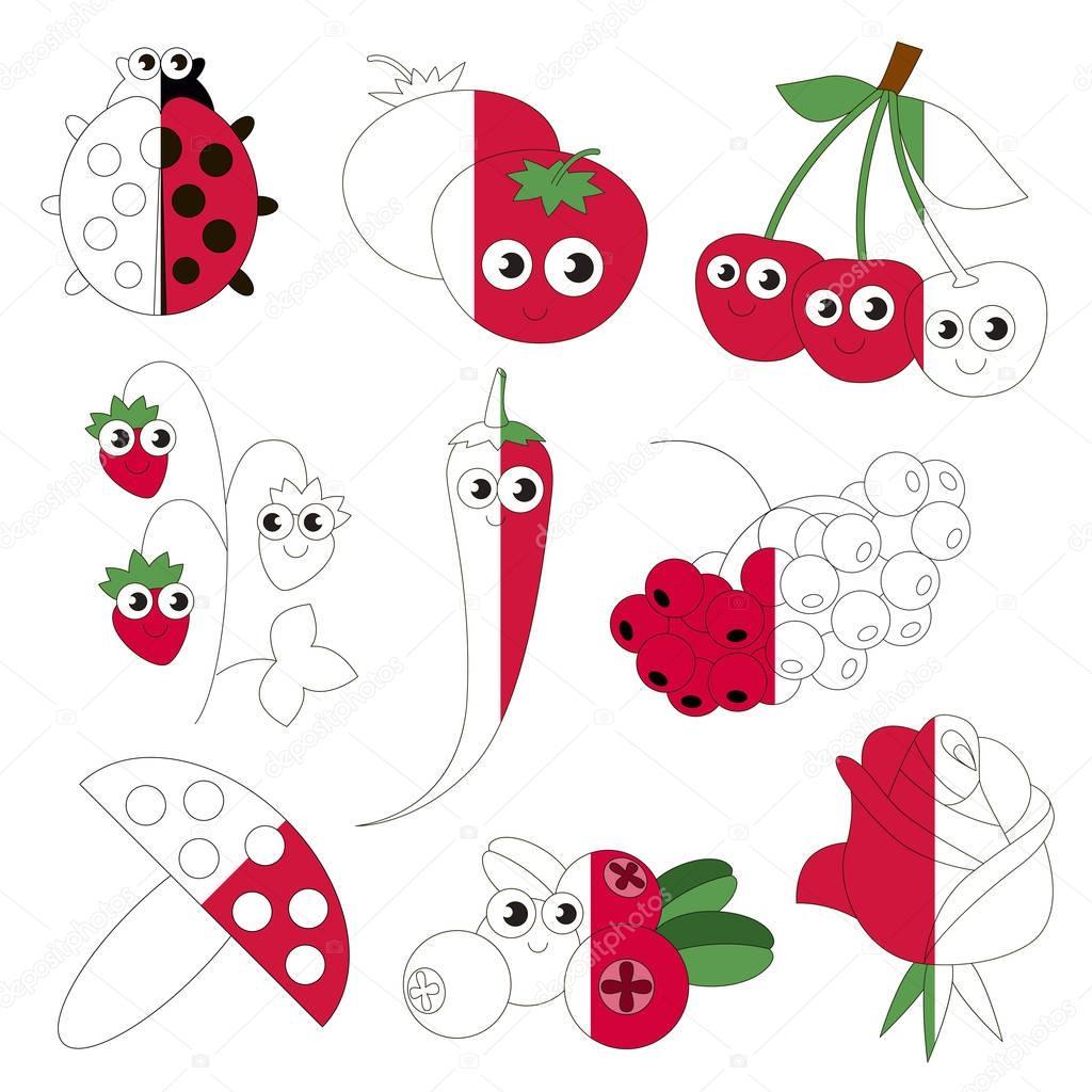 Engracado Objetos De Cor Vermelha O Jogo De Crianca