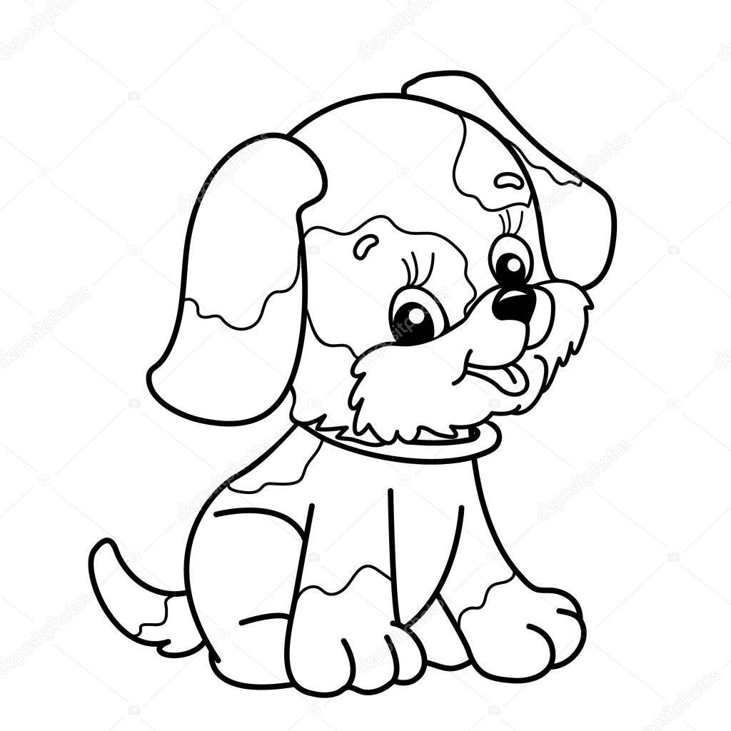 Colorir Pagina Contorno Do Cao Dos Desenhos Animados Filhote De Cachorro Bonito Sentado Livro