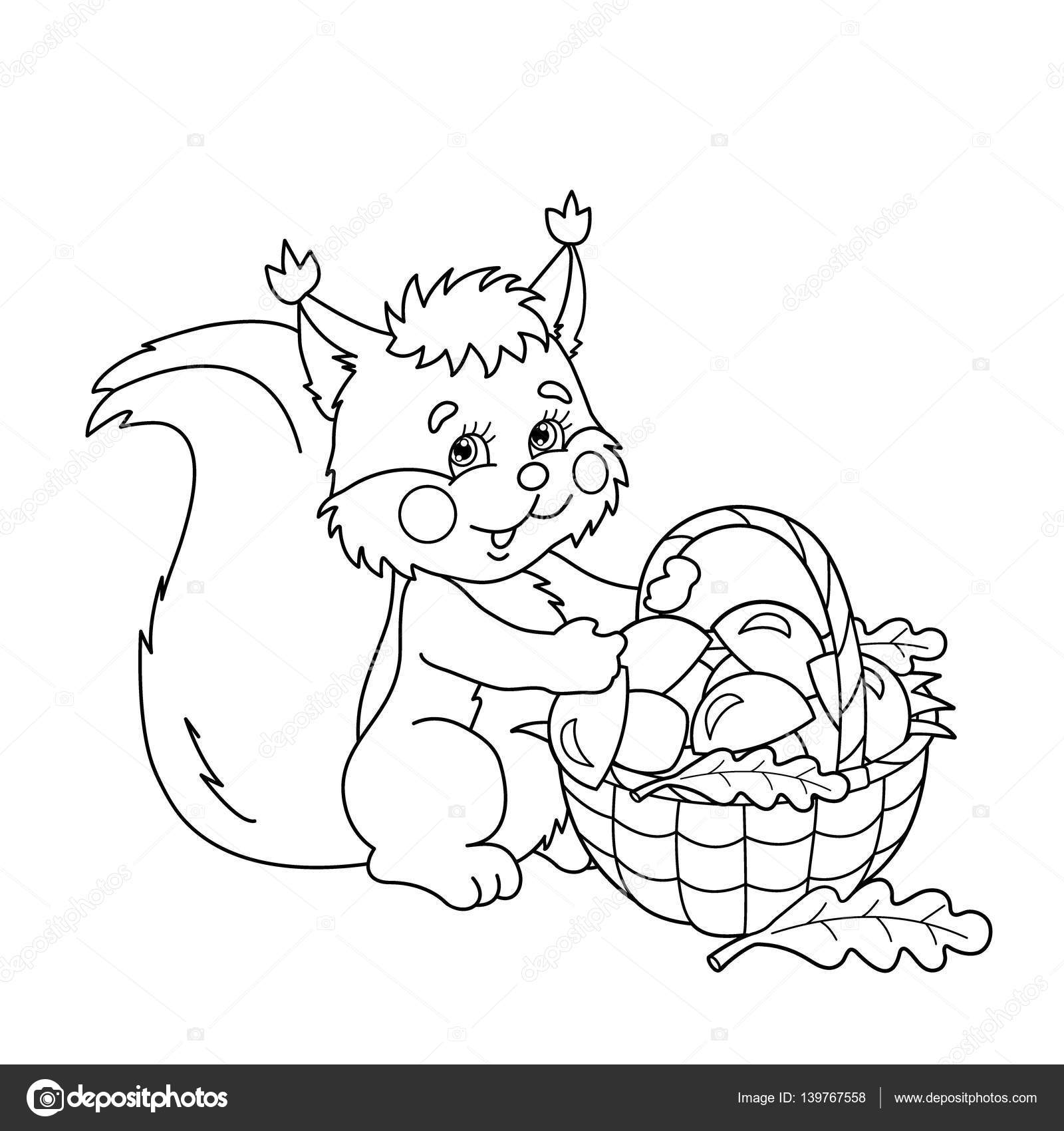 Coloring Page Outline Of Cartoon Squirrel With Basket Of