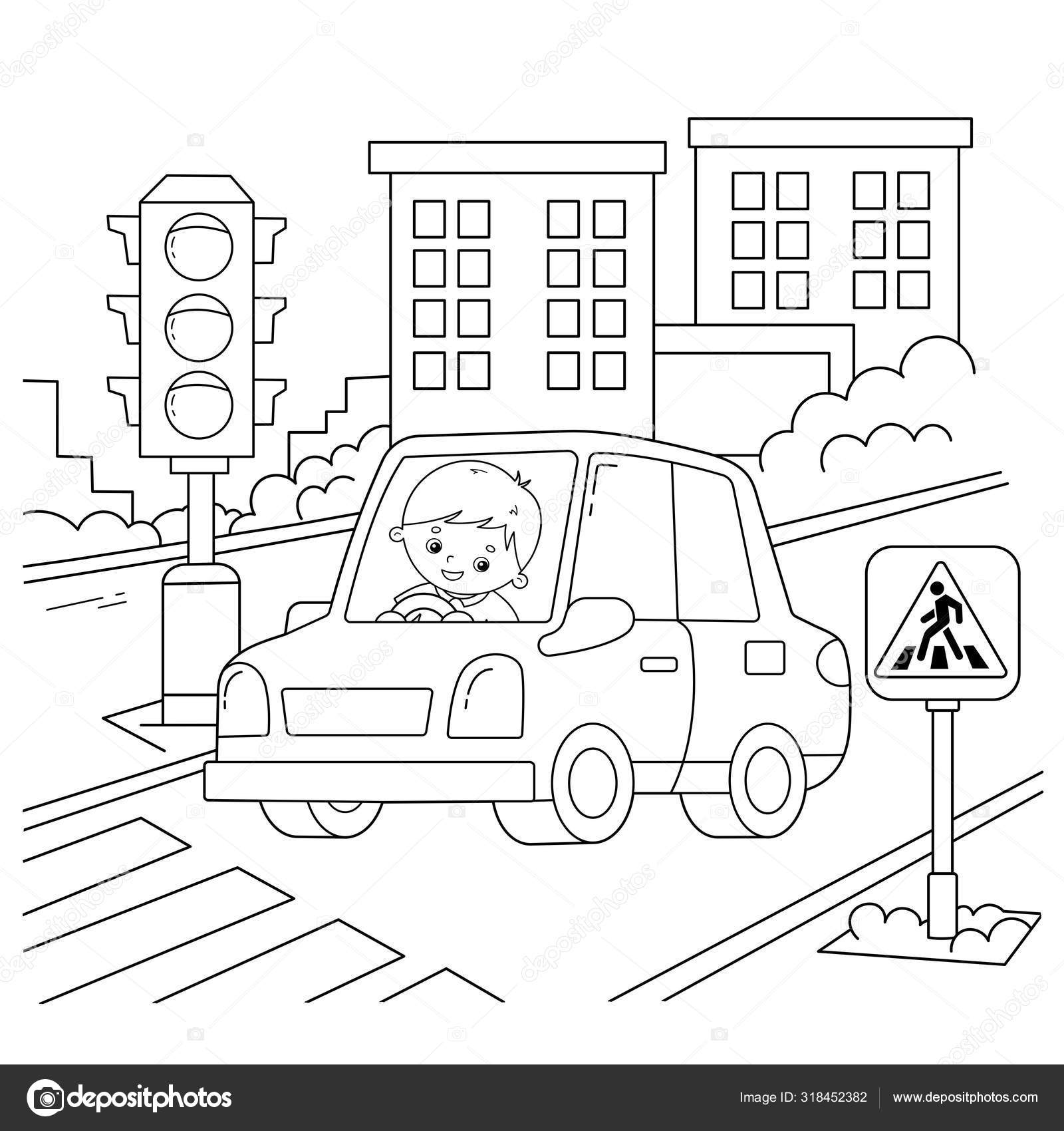 Coloring Page Outline Of Cartoon Car With Driver On Road
