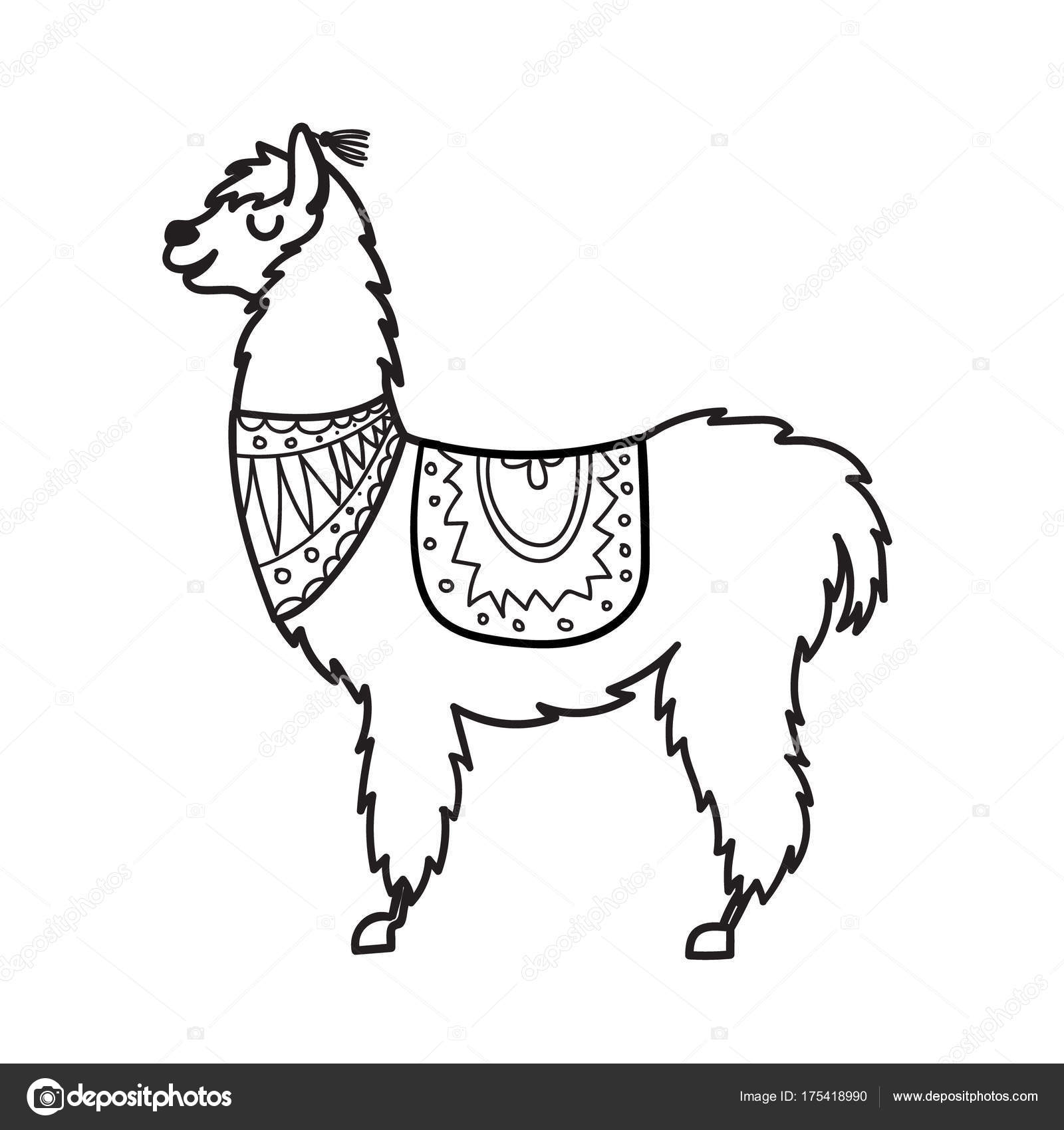 Vector Illustration Of Cute Character South America Lama