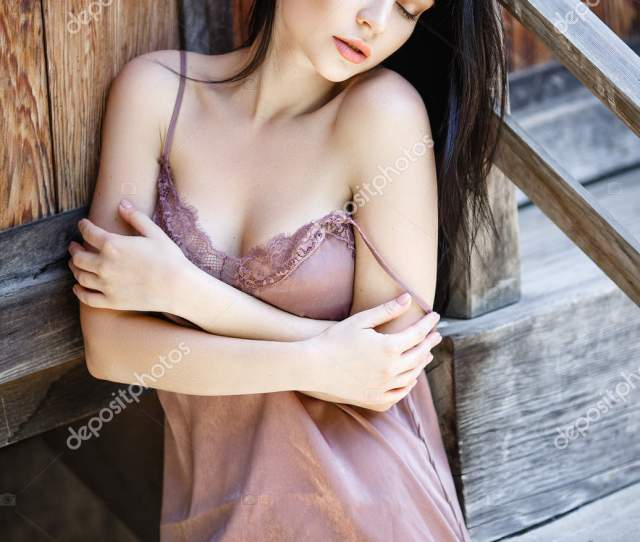 Perfect Girl In A Short Sexy Dress Outside Stock Photo