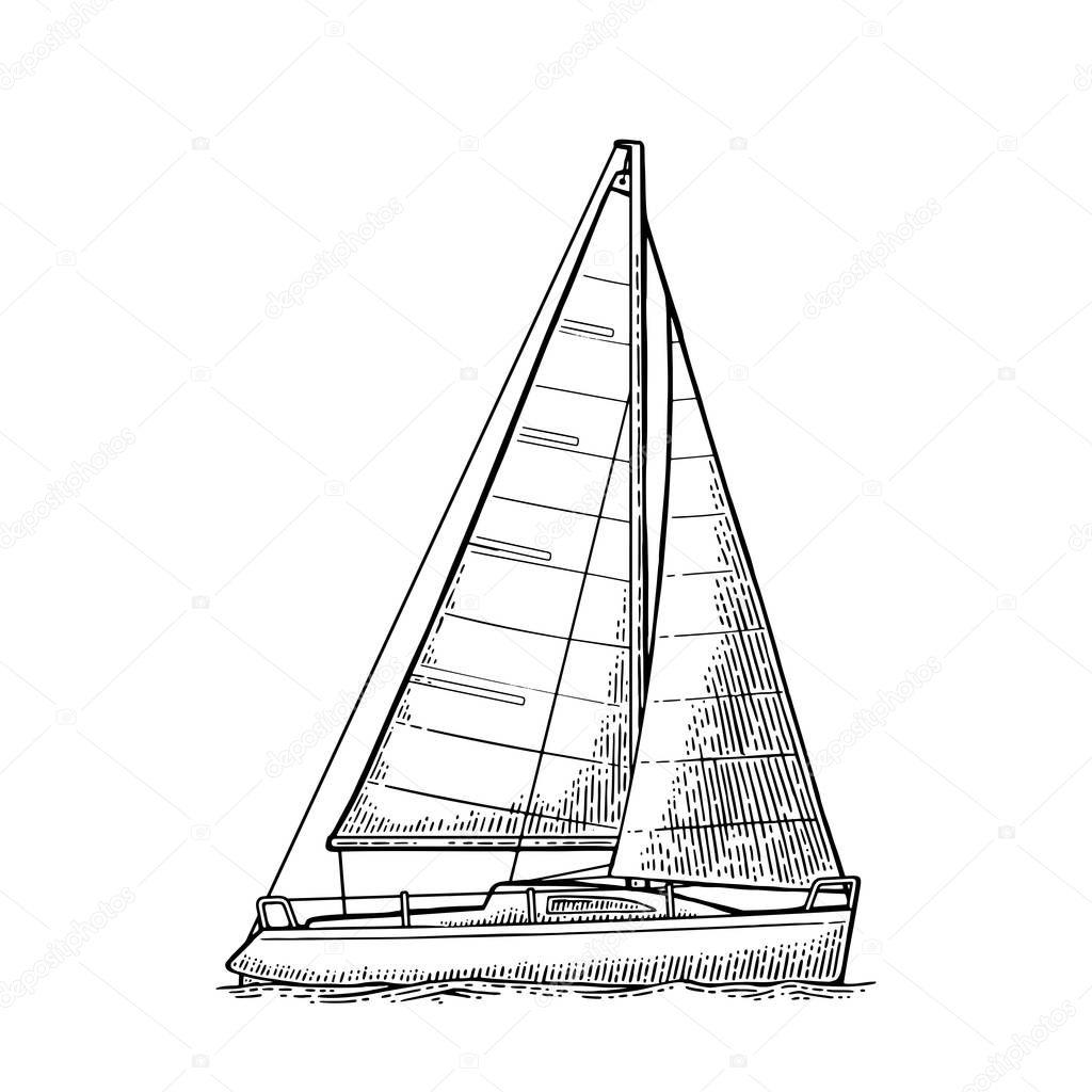 Sailing Yacht Sailboat Vector Drawn Flat Illustration