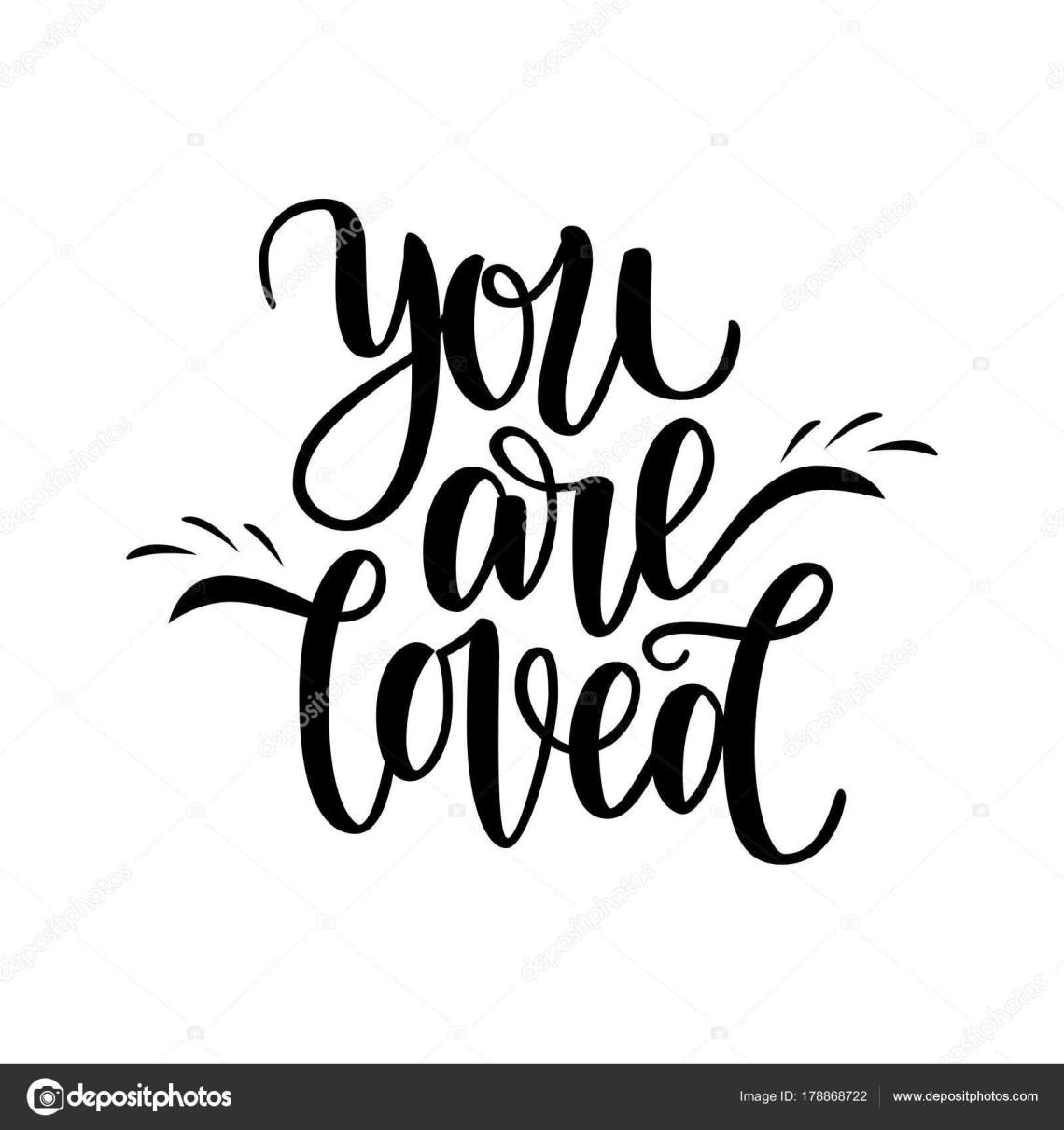 Download Hand written you are loved phrase. Vector card for ...