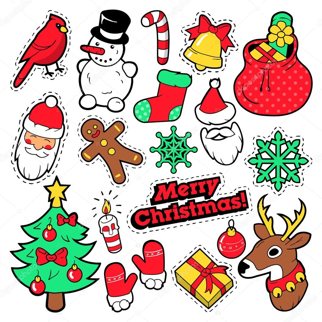 Merry Christmas Badges Patches Stickers Santa Claus
