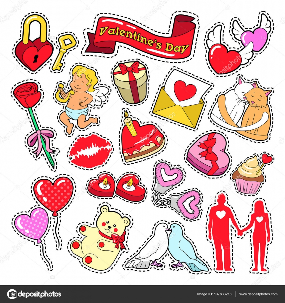 Happy Valentines Day Doodle For Scrapbook Stickers