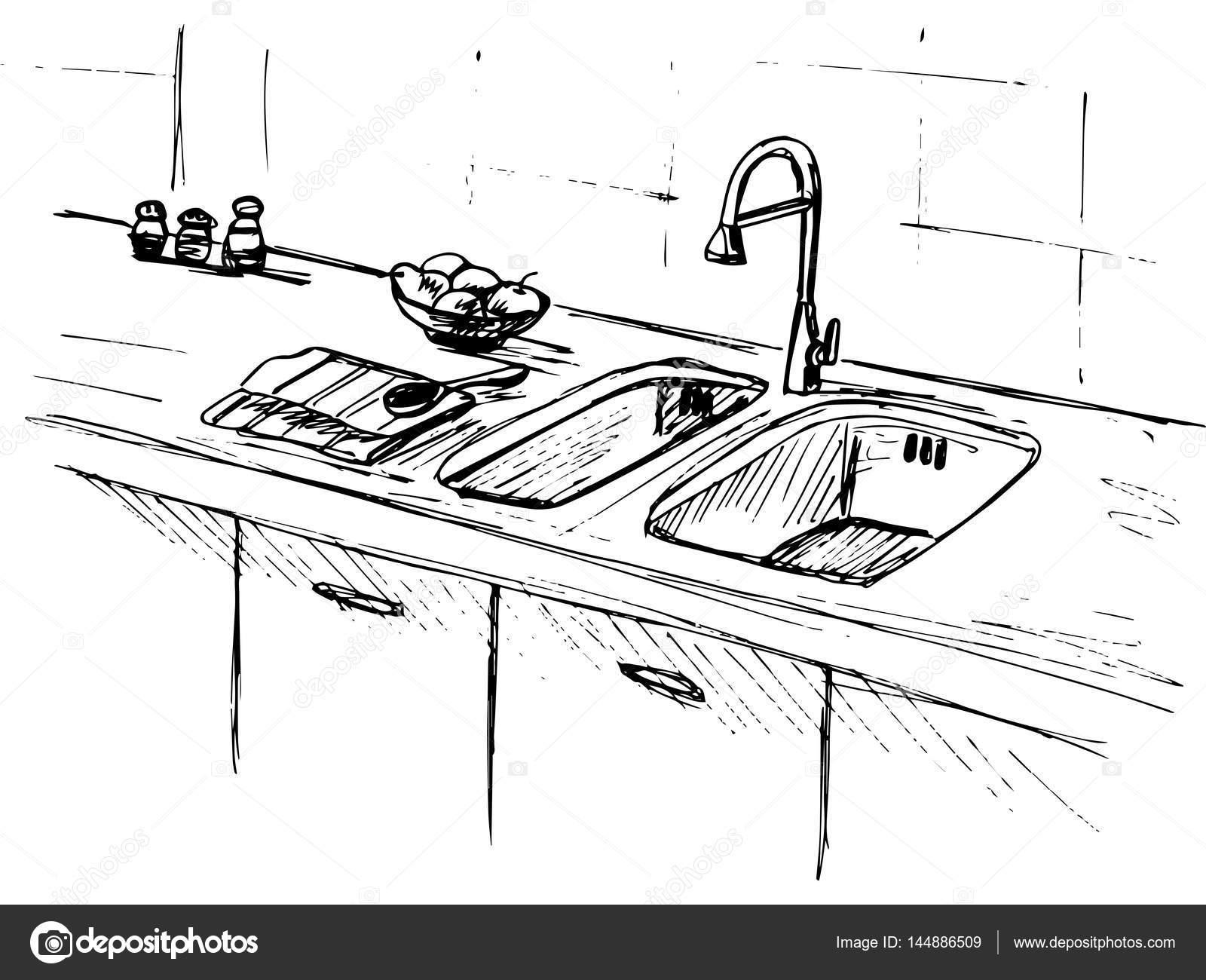 Kitchen Sink Kitchen Worktop With Sink The Sketch Of The
