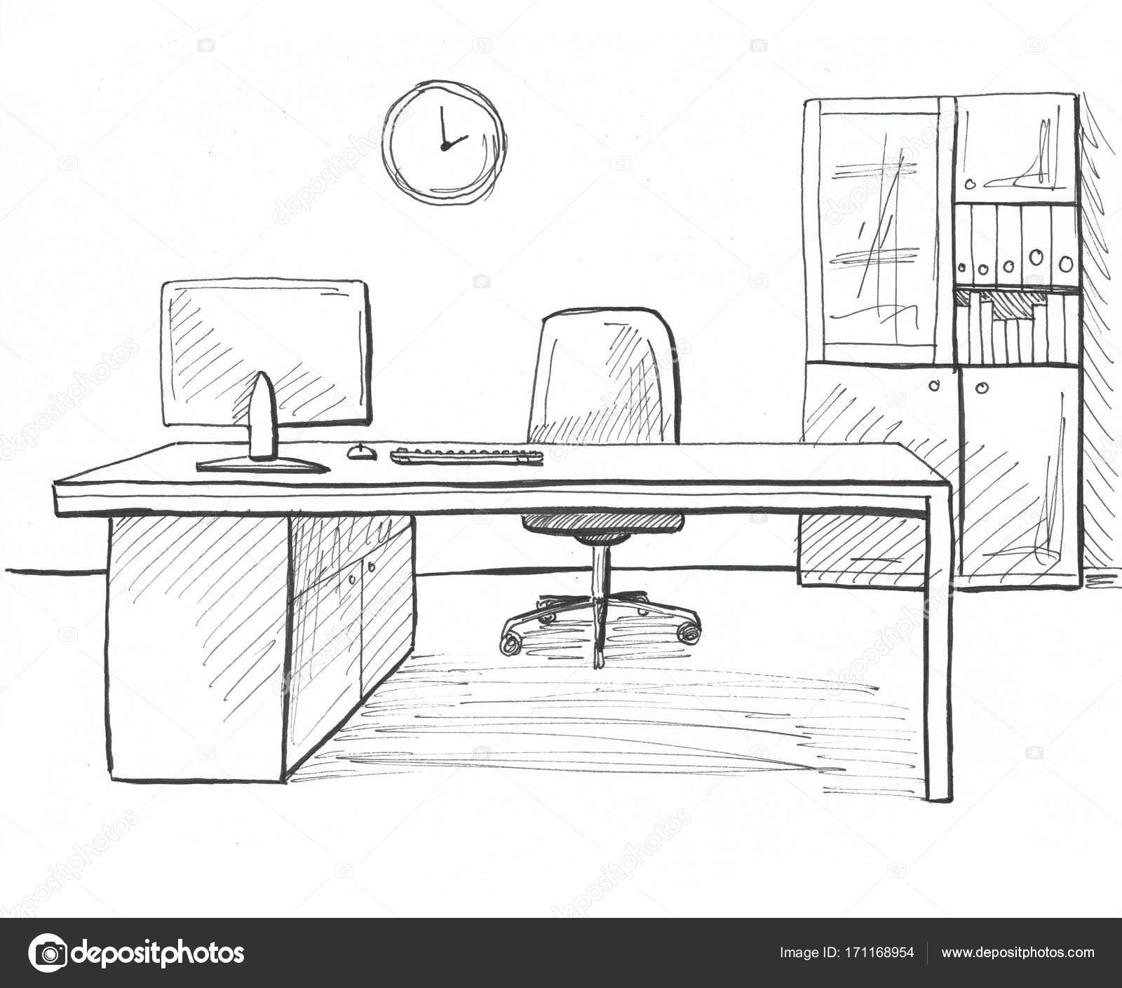 Escritorio Em Um Estilo De Desenho Mobilia De Escritorio