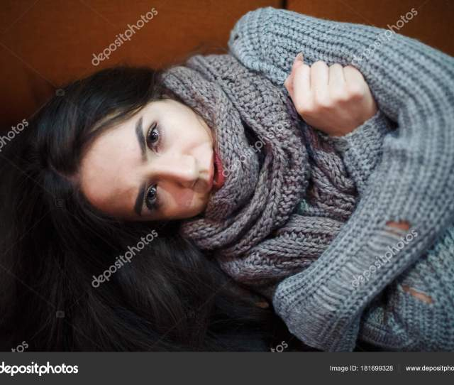 Flu Cold Allergy Symptom Sick Young Woman Fever Sneezing Tissue Stock Photo