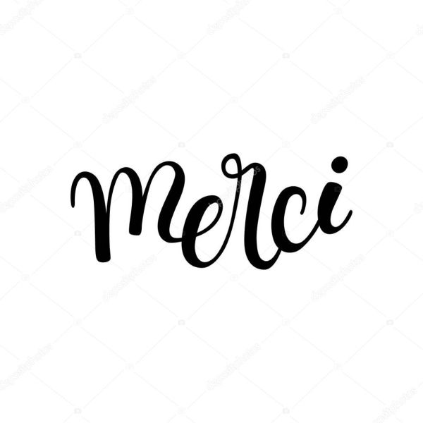 Hand lettering thanks in French: merci — Stock Vector ...