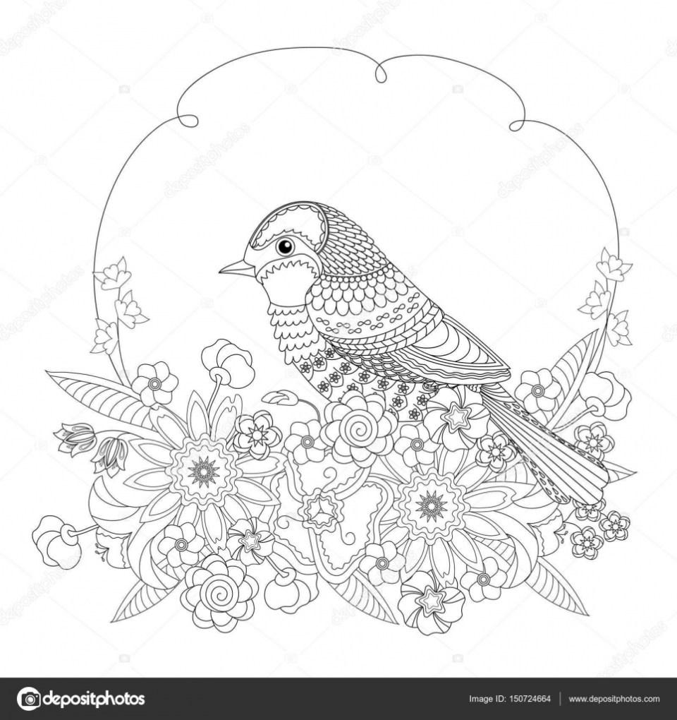 花のファンタジー鳥。大人と子供のための塗り絵。黒と白のベクトル図