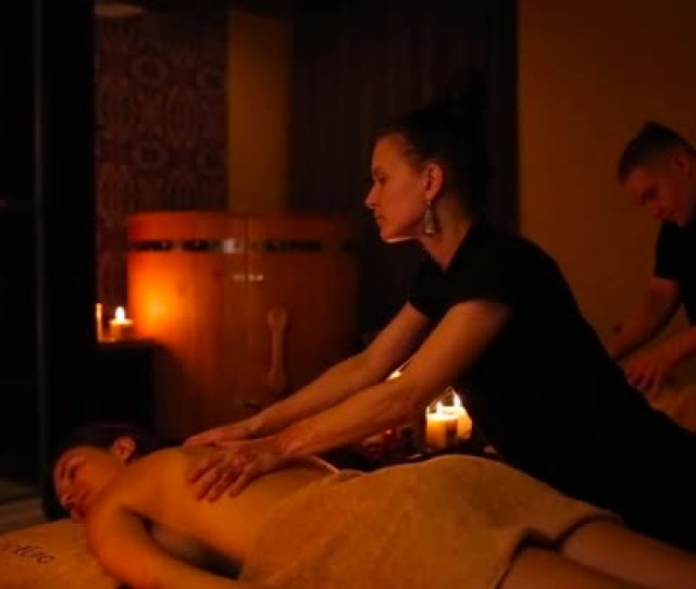 Massage For Girls And A Guy Stock Video