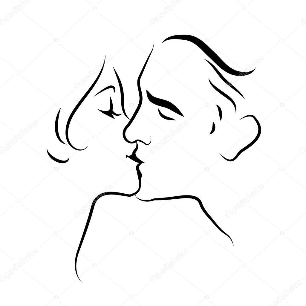 Szerelmeseinek Csok Vonalas Rajz Vektoros Illusztracio