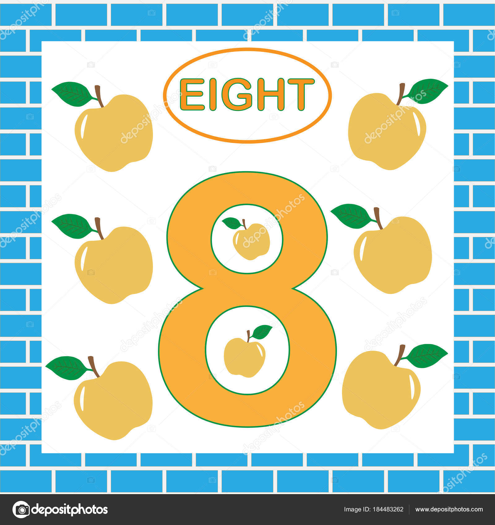 Number 8 Eight Card Education For Preschool Children