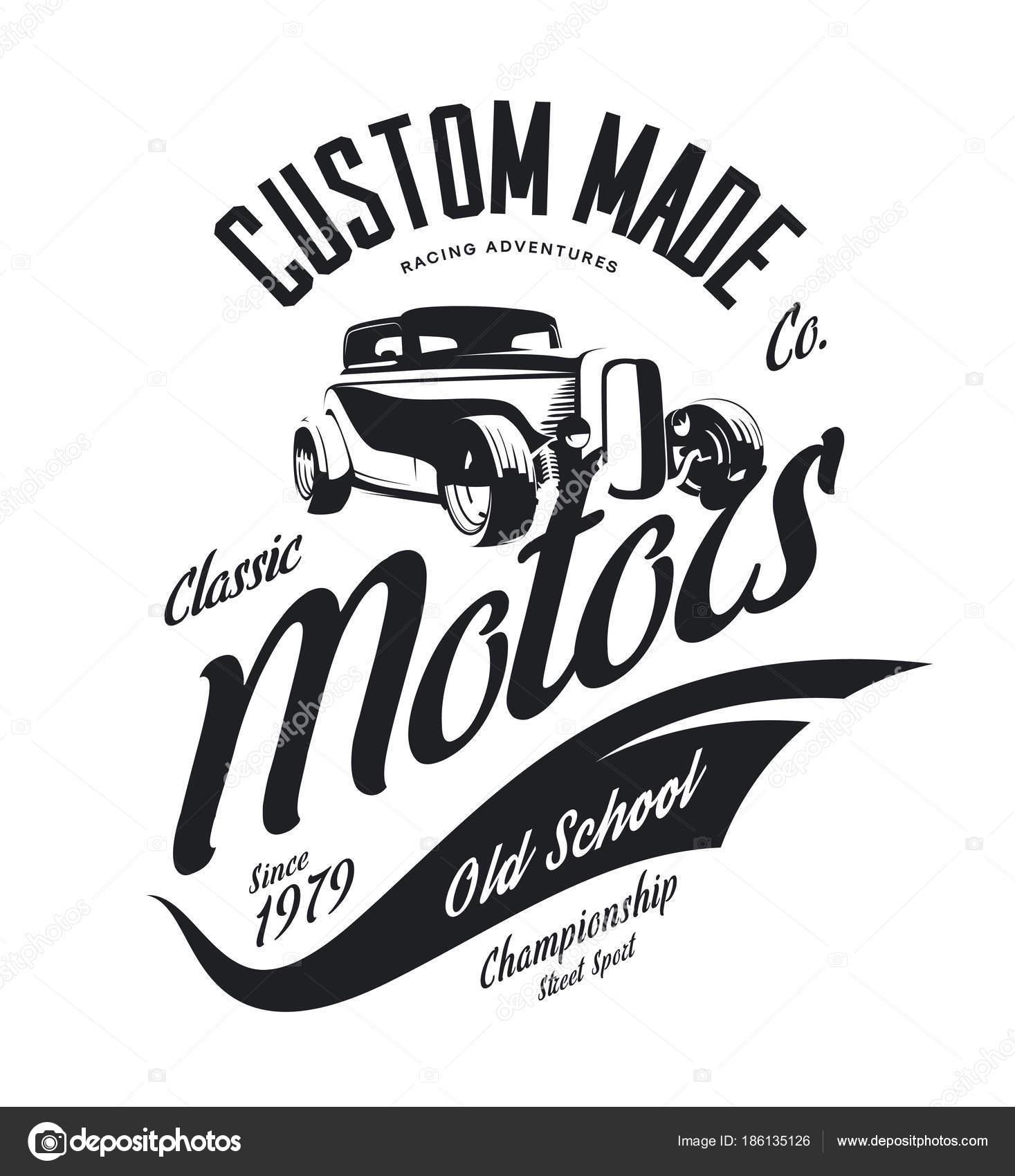 Vintage Custom Hot Rod Motors Vector Tee Shirt Logo