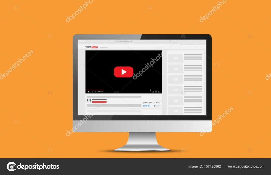 Computer Monitor Mockup With Online Video Blog Screen Vlog Concept
