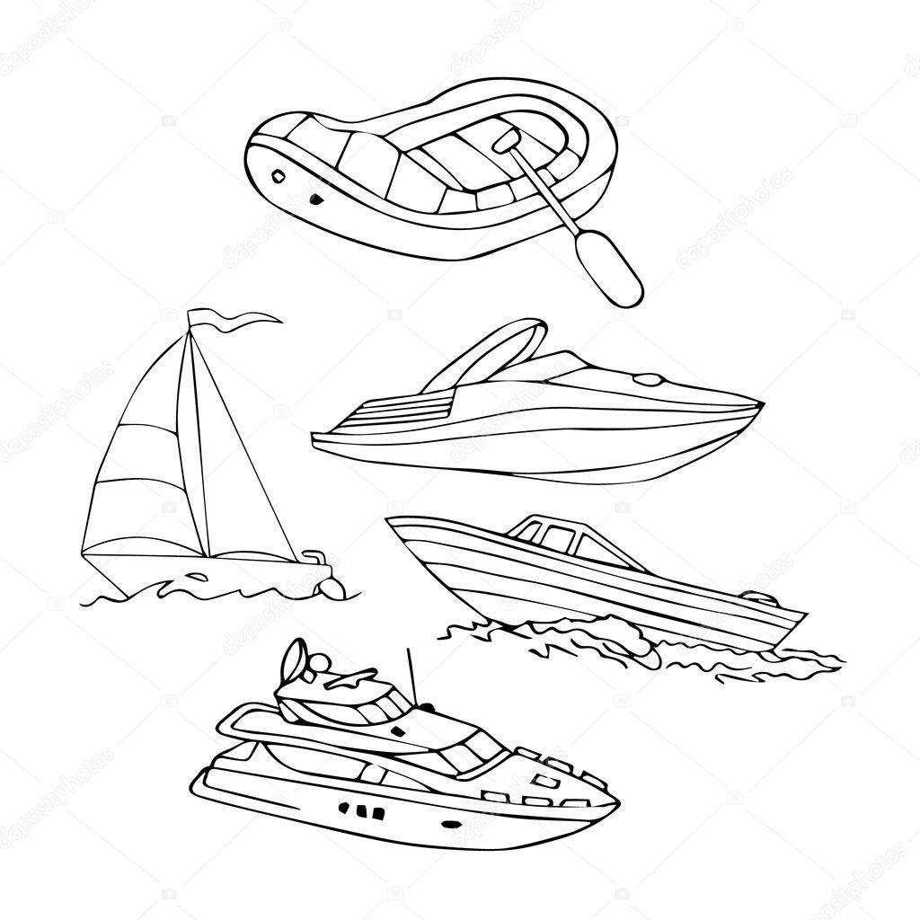 Tekne Vektor Cizim Ayarlay N Zole Tekne Koleksiyonu