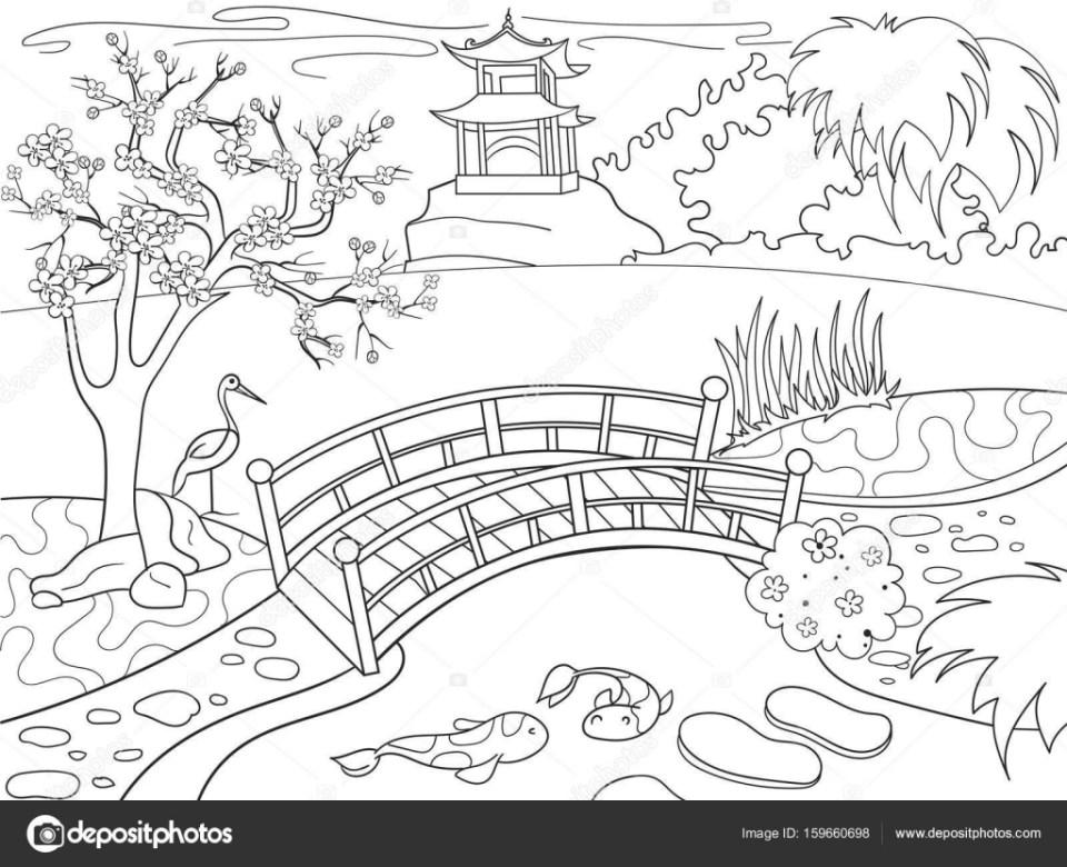 漫画の子供のための塗り絵日本の自然。日本の庭のベクトル図 — ストック
